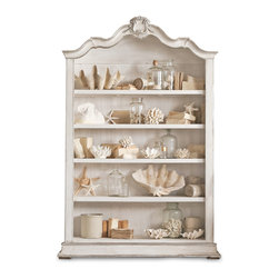Eloquence - Rousseau French Country Antique White Silver Gilt Display Bookcase - This sophisticated, romantic piece adds a French Country accent to your home, whether it's used as a china cabinet, bookshelves or display case. The hand-carved ornate details on the antique white frame are highlighted in silver. Warm, white-washed wood creates an elegant backdrop for all your favorite collections.