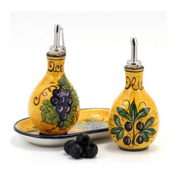 Artistica - Hand Made in Italy - Bucciato Olivo Uva: Oil and Vinegar Set on Tray - Bucciato: Bring a vibrant celebration of color to your kitchen with our all new and exclusive ''Bucciato'' collection from Deruta, featuring an exclusive orange peal glazing, an original process that produces a textured finish that adds significant body to the colors.