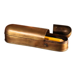 BoBo's Intriguing Objects - Pencil Box - If you've been examining decorative ways to store your desk items, it's time to put down your No. 2 pencil. The test is over. This brass case is made to look like an antique, and has the patina to match. It's a unique and fun way to let people know you're well-educated in style.