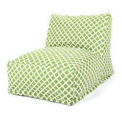 Majestic Home - Outdoor Sage Bamboo Bean Bag Chair Lounger - If you're searching for a laid-back lounger with a lively print, you've found it. This update on the beanbag works in your favorite setting, indoors or out — the fabric's been treated with UV protection to keep its good looks no matter the weather.