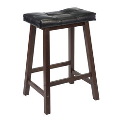 Winsome Wood - Winsome Wood Mona 24 Inch Cushion Saddle Seat Stool w/ Black Faux Leather & Wood - Update kitchen stools with this stylish Saddle Stool with Black Faux Leather cushion seat. Solid wood base in Antique Walnut Finish. Ready to assemble. Barstool (1)