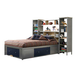 Hillsdale Furniture - Hillsdale Universal Full Storage Platform Bed w/ Bookcase Wall in Silver - Silver and navy Universal Youth Bedroom Collection offers super solutions for any kids room with the awesome additional storage provided in the under the bed platform area. Paired with the functionality of the bookcase storage unit, this collection is the perfect opportunity to get your child, tween, or teen organized with style. Versatility abounds in this bedroom creating a perfect environment for your child. The bed uses slatted platform bed frame and no box spring is required. Drawers are available on three sides of the bed. Sturdy welded construction featuring tubular steel and metal mesh. Solid wood drawers with metal mesh fronts. Case piece tops and shelves are constructed of particle board with faux wood vinyl laminate.