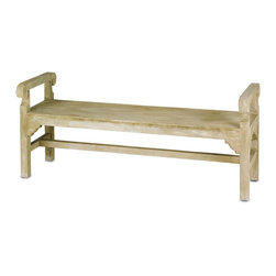 Currey & Company - Chippendale Bench - This backless concrete bench is more canonic and has Neoclassical details in its profile. It makes a fantastic addition to a garden or other outdoor/indoor space It comfortably seats three.