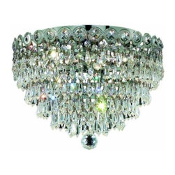 "PWG Lighting / Lighting By Pecaso - Agathe 6-Light 18"" Crystal Flush Mount 1617F18C-SS - This classical Agathe Crystal Chandelier with flowing symmetrical shape and nearly invisible frame offers a striking surge of brilliant light. Sconces and ceiling mounts enhance your room decor."