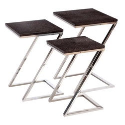 Benzara - Colorful Metal Wood Nest Table - Set of 3 - Give your home a distinctive and appealing look with this Metal Wood Nest Tables set of 3. It makes a perfect addition to living room settings. Moreover, it will go well with any traditional settings too. It flaunts a chic contemporary design that makes the tables perfect for any modern settings. Slim and compact, these tables sport a sleek and attractive appearance and do not take up much room as they have a slim profile. Besides being perfect for placing all kinds of decorative items to enhance interior aesthetics, these tables can be used for serving, which makes them practical and versatile in use. They sport a beautiful color combination to complement all decor styles. Crafted from a combination of quality wood and metal, the tables have a strong construction that ensures they can be used for a long time. H.