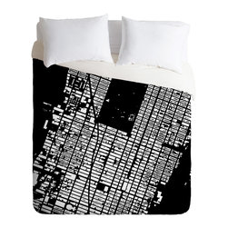 DENY Designs - CityFabric Inc NYC Midtown Black Duvet Cover - Turn your basic, boring down comforter into the super stylish focal point of your bedroom. Our Luxe Duvet is made from a heavy-weight luxurious woven polyester with a 50% cotton/50% polyester cream bottom. It also includes a hidden zipper with interior corner ties to secure your comforter. it's comfy, fade-resistant, and custom printed for each and every customer.