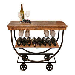Napa East Collection - Vintage Wine Cart - The Vintage Wine Cart adds a warm, traditional feel to dining and living spaces and is a intriguing conversation piece. Handcrafted from reclaimed white oak wine barrels, this wine cart is functionally impressive with the capacity to hold up to 16 bottles of wine and 12 wine glasses, while wheels provide flexibility to bring this serving cart to your guests.