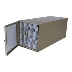 "Adir Corp - Stackable Steel Roll File 16 Comp. - ""Keep your sensitive documents safe in this reinforced steel roll file. Exceedingly durable, the 38"" deep file is constructed of heavy steel, allowing for more protective storage. The 16 square fiberboard compartments are secured with aluminum molding for additional support, and its dust-resistant door can open to the right or to the left, as per your convenience. The doors boast label grids, providing further organization and practicality."