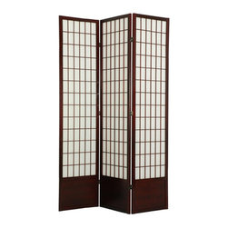 Oriental Unlimited - Window Pane Room Divider - 84 inch - SS-84WP-BLACK-3_PANEL - Shop for Room Dividers from Hayneedle.com! What We Like About the Extra Tall Window Pane ScreenDifficult to find in the USA our extra tall 84-inch (7feet) Window Pane room dividers have a kick plate at the bottom to protect the shade from scuffs. Great for rooms with high ceilings for a more substantial feeling or where greater privacy is preferred. Choose from 3 to 6 panels and several color options for your personal display preference. Fold and adjust to achieve the most attractive look for your room. Overall sizes listed are approximate.Sizes3 Panel - (Approximate) Overall Size Dimensions: 54.5W x .75D x 84H inches4 Panel - (Approximate) Overall Size Dimensions: 73W x .75D x 84H inches5 Panel - (Approximate) Overall Size Dimensions: 91.5W x .75D x 84H inches6 Panel - (Approximate) Overall Size Dimensions: 110W x .75D x 84H inchesIndividual panels are extra tall at approximately 17.5 inches wide x 84 inches tall.