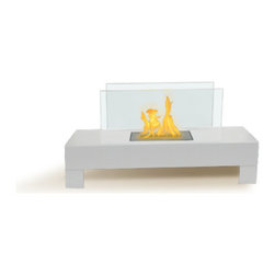 Anywhere Fireplace - Gramercy Bio Ethanol Fireplace, White - The elegance and clean design of the glass and high gloss white-coated Gramercy Anywhere Fireplace works in all settings, indoor or out. With no necessary installation, getting the fire started is as easy as adding fuel and clicking the lighter. No need for a vent or flue. This fireplace only emits water vapor and carbon dioxide. No Smell, No Smoke, No Fumes! Stepping off the hearth and out of the box, this ethanol burning fireplace is entirely portable, making it an easy installation and an even easier appliance. With the simple addition of bio-ethanol fuel, prepare to sit back and enjoy the warmth of real flames in just minutes.