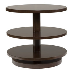 Vanguard - Fenwick End Table - Like a decadent array of petits fours on a tiered cake stand, this side table will show off your most delicious accessories. Three stacked rounds of espresso African walnut will fit a lamp, clock or your favorite baubles and bits. If you dare, resist the temptation and leave it near bare for a chic minimalist look.