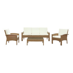 Modway - Modway EEI-971 Brook 4 Piece Sofa Set in Oatmeal White - Petite waterfalls lead the way to momentum in this richly depictive piece. Brook blends daringly modern and peacefully quaint elements in a design that portrays a picturesque reality. Brook is comprised of a UV resistant rattan base, a powder-coated aluminum frame and all-weather cushions. The set is perfect for cafes, restaurants, patios, pool areas, hotels, resorts and other outdoor spaces.