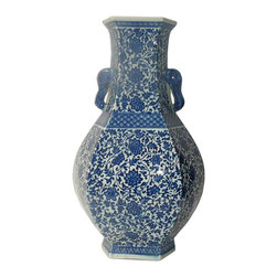 Golden Lotus - Chinese Blue & White Porcelain Hexagon Lotus Flower Vase - This is a traditional Chinese decoration vase in blue & white color with detail combination of oriental lotus flower pattern. ( some blurry on the graphic )