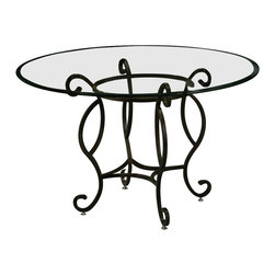 Pastel - Atrium 48 in. Round Dining Table with Bevel Glass Top - Chairs not included