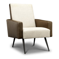 Jonathan Adler Philippe Chair - This chair combines contemporary and retro mid-century, as well as leather with linen. It's very Don Draper.
