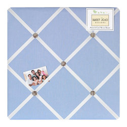 Sweet Jojo Designs - Fire truck Fabric Memo Board - The Fire truck Fabric Memo Board with button detail is a great way to display photos, notes, and postcards on your child's wall. Just slip your mementos behind the grosgrain ribbon to create an engaging piece of original wall art. This adorable memo board by Sweet Jojo Designs is the perfect accessory for the matching children's bedding set.