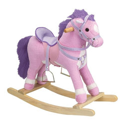 Charm Co. - Princess Pink Horse Rocker with Sound - Princess horse rocker is not your tradional rocking horse. This pretty pink rocking horse features a soft pink plush body with a lavender mane and tail. Princess horse rocker also has a lavender plush saddle and reins.