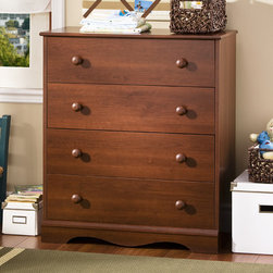 """South Shore - Heavenly 4 Drawer Chest - This Heavenly Four Drawer Chest offers your baby a very practical bedroom chest in a rich Royal Cherry finish. Wooden knobs, decorative moulding, a simple yet elegant kick plate and lifetime warranty are a few of the characteristics that make this bed such a smart choice. Its rich cherry finish will bring elegance to the baby's room and allow it to easily blend in. Features: -Warm Royal Cherry Finish. -Constructed of engineered wood. -Wooden knobs. -Four spacious drawers. -Decorative profiled tops with rounded profile for increased security. -5 - year manufacturers limited warranty. -Overall Dimensions: 35.8"""" H x 30.8"""" W x 15.7"""" D. Protecting our Environment for Generations to Come! South Shore Furniture is proudly taking a stand on its environmental positioning and is supporting its words with very concrete actions and a vision for a healthy future. Current actions include: -Improved packaging ? Our new packaging use 60% less non-biodegradable materials. -Energy efficiency ? Yearly, 5 to 6 tons of wasted paneling are converted into energy used internally. -Environmentally Preferable Product (EPP) certification ?Already meeting the very strict 2009 California Formaldehyde Regulations. -Greener communication tools ? Reduced format on recycled paper and conversion to electronic format. -A Green Future in mind: a member of the Composite Panel Association whose mission is to work towards more ecological and environment-friendly panel solutions."""