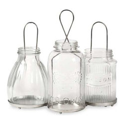 Spangler Jar Lanterns - Set of 3 - The Spangler collection of jar lanterns add a vintage feel to any home! Inspired by different mason jar styles, use multiples to light up the home for any celebration! Holds tealight candles.