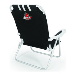 "Picnic Time - University of Louisville Monaco Beach Chair Black - The Monaco Beach Chair is the lightweight, portable chair that provides comfortable seating on the go. It features a 34"" reclining seat back with a 19.5"" seat, and sits 11"" off the ground. Made of durable polyester on an aluminum frame, the Monaco Beach Chair features six chair back positions and an integrated cup holder in the armrest. Convenient backpack straps free your hands so you can carry other items to your destination. Rest and relaxation come easy in the Monaco Beach Chair!; College Name: University of Louisville; Mascot: Cardinals; Decoration: Digital Print"