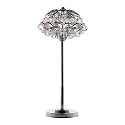 EcoFirstArt - LUCIA TABLE LAMP - There's nothing quite like the sparkle and shine of Swarovski crystals to light up a room. This dazzling table lamp features the world famous crystals delicately overlapping on a chrome-plated stand.