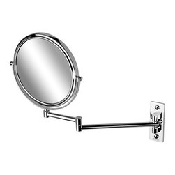 Geesa - Chrome Round Wall Mounted Double Face 3x Magnifying Mirror - Contemporary style wall mounted double face (regular and magnifying) mirror. Mirror is available in a chrome finish with 3x magnification. Geesa wall-mount cosmetic mirror. From the Mirror Collection collection. Convenient & simple, made in brass and finished in chrome. Manufactured in and imported from Netherlands.