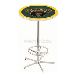 Holland Bar Stool - Holland Bar Stool L216 - 42 Inch Chrome Baylor Pub Table - L216 - 42 Inch Chrome Baylor Pub Table  belongs to College Collection by Holland Bar Stool Made for the ultimate sports fan, impress your buddies with this knockout from Holland Bar Stool. This L216 Baylor table with retro inspried base provides a quality piece to for your Man Cave. You can't find a higher quality logo table on the market. The plating grade steel used to build the frame ensures it will withstand the abuse of the rowdiest of friends for years to come. The structure is triple chrome plated to ensure a rich, sleek, long lasting finish. If you're finishing your bar or game room, do it right with a table from Holland Bar Stool.  Pub Table (1)