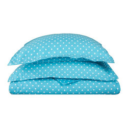 600 Thread Count Twin Duvet Set Cotton Rich Polka Dot - Aqua - 600 Twin Duvet Set Cotton Rich Polka Dot - Aqua