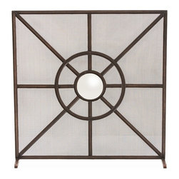 Arteriors - Gemma Screen - We took a classic fire screen design and punctuated it with a convex mirror as a reflective focal point. The result is a design that updates any fireplace and adds charm to a variety of living spaces. Finished in tobacco bronze.