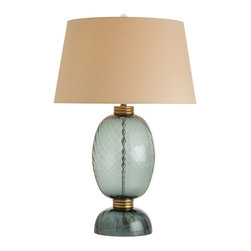 Arteriors - Josh Lamp - This midnight blue mouth blown glass lamp with optic swirls is highlighted with antique brass spacers and neck detail. Due to the artisanal nature of mouth blown glass, the color will vary. The boulder tan shade color mimics the brass finish, and the euro taper shape with hand rolled edges balances the proportions perfectly. Finish may vary. Takes one 150 watt three-way bulb.