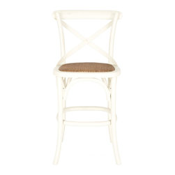 Safavieh - Franklin Counterstool - Ivory - With its willowy frame and iconic cross-back inspired by Michael Thonet��_s classic bistro chair, the Franklin counter stool by Safavieh is ideal in kitchen or great room. Crafted of solid American oak, including the X arch brace, this casual counter stool is finished in ivory with a seat of rattan caning.