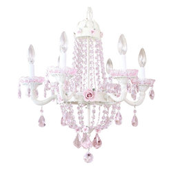 "6 Light Empire Pink Crystal Chandelier - This ornate vintage-inspired 6-light Empire chandelier has been painted ivory. It is draped with long sparkly crystal chains and decorated with plenty of teardrop prisms, French pendants, fancy-cut glass bobeches and gorgeous pink porcelain roses in two sizes. The chandelier measures 21"" wide across the arms and 22"" long down to the sparkly crystal ball. A very nice size and gives off lots of light!"