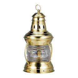 "10"" Brass U.S. Anchor Lantern - The brass u.s. anchor lantern is available in size 10""H. It is made of polished brass  is available in oil  electric. It will add a definite nautical touch to wherever it is placed and is a must have for those who appreciate high quality nautical decor. It makes a great gift, impressive decoration and will be admired by all those who love the sea."