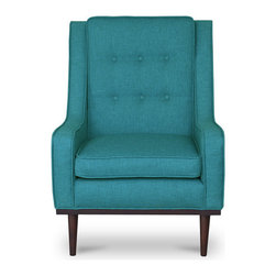 Bryght - Nina Teal Armchair - Mid century modern with a contemporary feel, the Nina chair with its beautiful button tufted back, self welt detailing and smooth tapered legs adds a perfect touch of class to your ambiance