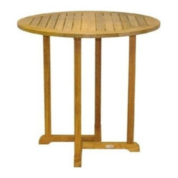 "Oxford Teak 42"" Round Bar Table - Simple yet sturdy, the oxford dining tables are available in various sizes to accommodate all living space needs."