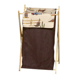 "Sweet Jojo Designs - Wild West Hamper - The Wild West Hamper by Sweet Jojo Designs will add a designers touch to any childs room. This childrens laundry clothes hamper has a wooden frame, mesh liner, and a fabric cover.The removable hamper body is secured to the wooden frame with corner loops and Velcro. The wooden stand folds flat for space-saving storage and the removable mesh liner is great for toting laundry.Dimensions: 15.5"" Length x 16"" Width x 26.5"" Height.If you like the Wild West Hamper Hamper, dont forget to check out the other items in the collection."