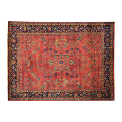 """Oriental Rug Galaxy - 8'1"""" x 11'0"""" Red Sarouk 300 kpsi Hand Knotted Oriental Rug New Zealand Wool - Our fine Oriental hand knotted rug collection consists of 100% genuine, hand-knotted and hand-woven rugs from Persia, China, and other areas throughout Asia. Classic, traditional, and offered in a wide range of elaborate designs, every handmade rug is guaranteed to serve as a beautiful and striking element in any interior setting."""