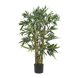 Nearly Natural - 3' Biggy Bamboo Silk Tree - Picture yourself on a tropical island getaway as you admire this elegantly styled Biggy Bamboo Tree. Despite its name, this 3 foot palm fits nicely in any small space. Over four-hundred rich bold ample sized leaves embellish this small but majestic looking tree. All natural neutral-toned trunks are a nice compliment to the lush greenery. Standing gracefully in a basic black planter, this lovely bamboo makes a wonderful addition to any home or office space.