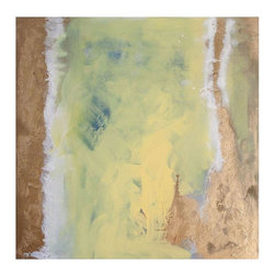 """Pre-owned Original """"Salt & Sandstone"""" by Julia Contacessi - An original abstract mixed media painting - """"Salt & Sandstone"""" by Julia Contacessi    Salt & Sandstone   (2014) Mixed Media on Canvas  Size: 30 x 30      Note from seller:  This painting is part of a series of mixed media abstract paintings exploring metallics, texture and natural elements to bring forth a feeling of the sea and coast. As if the ebbing tide, """"Salt & Sandstone"""" feels as if it moves and changes when the light reflects off the metallic gold. The gallery wrapped canvas is painted silver on the side and comes wired and ready to hang.  Signed and dated on the back.    About the artist:  Contemporary abstract artist Julia Contacessi explains her process as a combination of conscious and subconscious exploration. With a focus on color, texture and composition, Julia strives to delivers an atmospheric, feel-good effect in every one of her pieces. The artistic influence of Helen Frankenthaler and her belief that there is """"no formula"""" and the artist should """"let the picture lead you where it must go,"""" are principles that Julia embraces. In addition, finding beauty in the contrasting nature of things, much like artist Patricia Larsen, is what Julia seeks through her work.    After graduating from Pratt Institute, Julia moved from Brooklyn, New York to Norwalk, Connecticut where she currently resides with her husband, Mario, and little guy, Neo. She hearts painting, photography and all things design."""