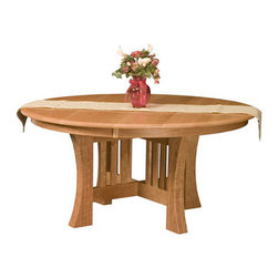 Round Arts and Crafts Table - Amish Direct Furniture offers Nationwide Shipping at the Best Prices. Furniture can be Customized by Wood, Stain Color, and Other Styles. See Our Entire Variety of Custom-Made Furniture on Our Site!