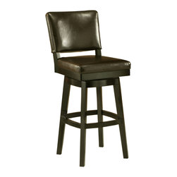 "Pastel Furniture - Richfield Swivel Barstool - The Richfield barstool is beautifully made with classic design elements that will add that touch of style to any room. This swivel barstool features a quality wood frame with sturdy legs and foot rest finished in Feher Black. The padded seat is upholstered in Black Leather offering comfort and style. Available in 26"" counter or 30"" bar height. Assembled dimensions for this barstool: 44.250H x 17.75W x 22.375D"