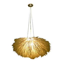 Eco Friendly Lighting - SPECTACULAR ORGANIC CHANDELIER MADE OF WOVEN REED SUSPENDED FROM STEEL CABLE THAT IS ADJUSTABLE.