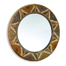 Kathy Kuo Home - Windham Lodge Rustic Kilim Covered Large Round Mirror - An eclectic, bohemian vision comes full circle in this oval kilim mirror.  Southwestern rustic, exotic and internationally influenced rooms will appreciate the added light and the unique brass tacked patchwork which creates a subtle sunburst effect.