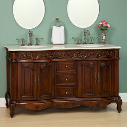 "61"" Berne Double Vanity - Cherry - Ideal for your master bathroom, the remarkable 61"" Berne Double Vanity features abundant storage and gorgeous details. The Cherry finish is complemented nicely by the solid marble countertop and Antique Brass hardware."