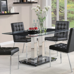 """Coaster - Rolien Collection Dining Table in Black - Set the mood for a modern mealtime. The rolien dining room collection features a 12mm tempered glass top with a center blck accent strip. Plush black vinyl seating with white accented stitching.; Contemporary Style; Rolien Collection; Finish: Chrome; Fabric Color: Black; Some assembly required.; Dimensions: 59""""L x 35.5""""W x 30""""H"""