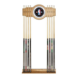 Trademark Global - NBA Logo with All Teams Billiard Cue Rack wit - Holds up to 8 Cues. Veneered Oak Finish. 10.5 Inch Diameter Mirror. 8 Inch Full Color Logo on Mirror. Rack Base: 3 Inches Deep x 28 Inches Wide x 3.125 Inches High. Rack Top: 13.25 Inches High x 1.75 Deep x 28 Inches WideYou have a great pool table and all the accessories, but you can't walk through your game room without tripping over pool cues. Why not treat yourself to this officially licensed high-end furniture grade cue rack. Protect your cue tips along with the pictures on the wall while supporting one of your favorite teams. This two piece oak veneered wood cue rack is highlighted with an inlaid mirror that has the full color graphic of your favorite team. There will be no more looking around the room to find the break stick with this officially licensed cue rack on your wall.