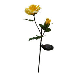 Alpine Fountains - Solar Yellow Rose Garden Stake w White LED Li - Made of 5% Fabric and 5% Plastic. 1 Year Limited Warranty. Assembly Required. Overall Dimensions: 5 in. L x 4 in. W x 32 in. H (0.31 lbs)Alpine Corporation beautiful solar lights are packed with super bright LED lights. Simply stake into the ground and wait for the solar panel to completely charge for the light to brighten your walkway or garden.