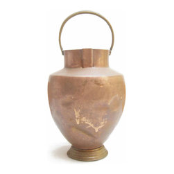 Tuscan Copper Amphora - Old copper amphora handmade in Tuscany in the early 1900.