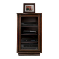 Bello - Bello Audio Video Component Cabinet in Dark Espresso - Bello - Audio Racks - ATC402 - This refined audio/video component tower cabinet was designed with elegance in mind. The wood panels feature a beautiful Dark Espresso finish. Components are hidden behind a dark tinted tempered safety glass door that allows for remote control operation and reduces dust. It accommodates at least four audio/video components on four height-adjustable interior wood shelves with internal ventilation slots for convection cooling of those components. The integrated CMS Cable Management System consists of two removable rear panels for easy access and management of wires and interconnect cables. This distinguished A/V cabinet features No Tools Assembly and goes together in minutes with no tools required.