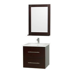 Wyndham Collection - Centra Espresso/ White 24-inch Single Bathroom Vanity Set - This chic bathroom vanity set will become the centerpiece of your bathroom. Clean,strong lines and a rich espresso finish create a striking look. The mirror includes a shelf,rounding out the storage space provided by the base's drawer and cabinet.